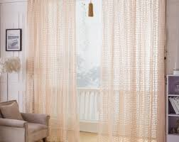Greek Key Pattern Curtains Taupe Jacquard Net Sheer Curtain Voile Panel One Custom Made