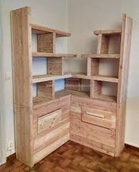 useful uses for old used wood pallets corner bookshelves