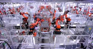 tesla factory tesla motors factory assembly line with robots electric cars