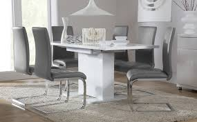 Dining Room Chair Set by Tokyo White High Gloss Extending Dining Table And 6 Chairs Set