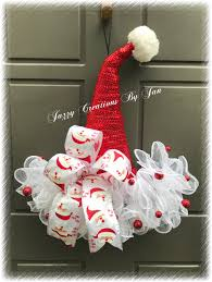 santa hat wreath deco mesh santa hat wreath door hanger santa