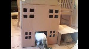 Cardboard Cat Scratcher House Homemade Cat Tree Cat House Youtube