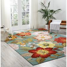 Nourison Area Rugs Nourison Hooked Blue Floral Area Rug 8 X 10 6