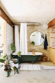 Clawfoot Tub Bathroom Designs by Bathroom With Houseplants And Round Mirror Also Forest Green