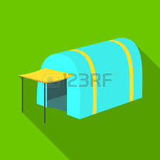 Awning Tent Tent With Awning Tent Single Icon In Outline Style Vector Symbol