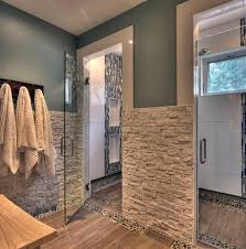 stacked stone partial walls in bath do not like the shower tile