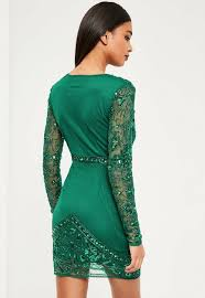 green dress premium green embellished wrap dress missguided