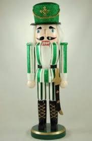 14 inch green stripe soldier wood nutcracker