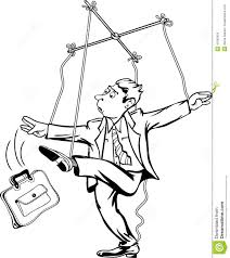 man pulling the strings worker as a marionette puppet theater
