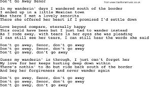 don t go away senor by marty robbins lyrics