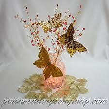 butterfly centerpieces metallic feather butterflies gold