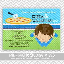 pizza u0026 pajamas boy personalized party invitation personalized