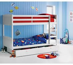 Buy HOME Detachable Single Bunk Bed Frame With Storage White At - White bunk beds uk