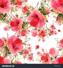 seamless pattern watercolor flower bouquets lovely stock
