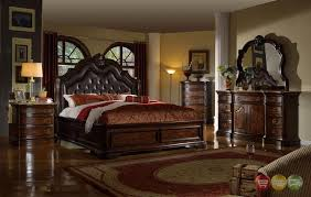 Tufted Leather Headboard Tuscan Style Brown 4pc Queen Bedroom Set Tufted Leather Headboard