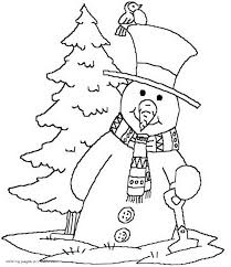snowman and christmas tree coloring