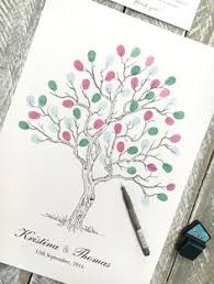 wedding fingerprint tree guest book twisted tree design image