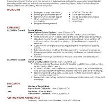Resume Community Service Example Social Work Resume Example Social Work Resume Resume For Social