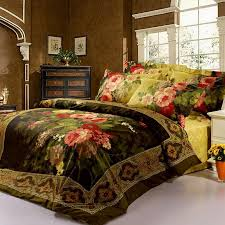 Black And Red Comforter Sets King 3d Oil Printed Painting Dark Green Red Bedding Set Flower Bed