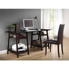Black Wood Desk Mott Dark Brown Wood Modern Desk With Sawhorse Legs Large
