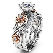 silver rose rings images 925 sterling silver rose gold filed white sapphire wedding rings jpg
