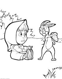 masha met hare u0026 raquo coloring for kids print free children u0027s