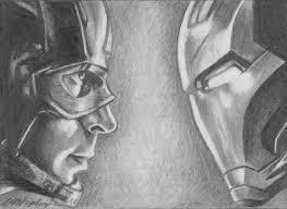 original pencil aceo sketch card captain america vs iron man