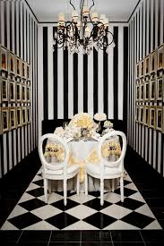 Crystal Chandelier For Dining Room by Luxury Dining Room With Black And White Wall Designs Using Striped