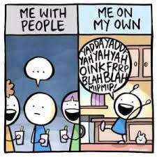 Meme Own Photo - me with people vs me on my own introvert memes