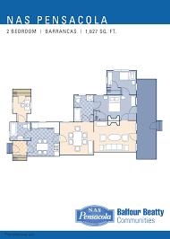 nas pensacola u2013 barrancas neighborhood 2 bedroom home floor plan