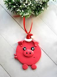 pink pig ornaments pig ornament polymer clay