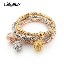 rose color bracelet images Longway new design 3 set gold color bracelets bangles with ball jpg