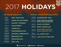 icymi list of regular non working holidays in 2017