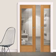 river modern medina oak double pocket doors prefinished
