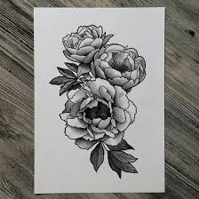 image result for bird peony vintage black tattoos pinterest