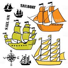 set of simple sketch illustrations old sailboats pirate ships with