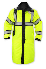 Construction High Visibility Clothing Reversible High Visibility Long Raincoat Outerwear
