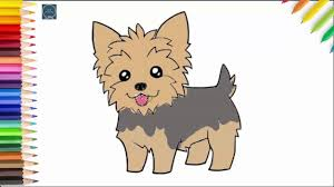 how to draw a yorkie simple drawing and coloring pages for kids