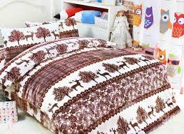 Christmas Duvet Set And Tree Print 3 Piece Flannel Christmas Gift Duvet Cover Sets