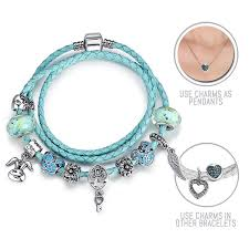 pandora bracelet set images Alice in wonderland cerulean blue pandora style leather bracelet jpg