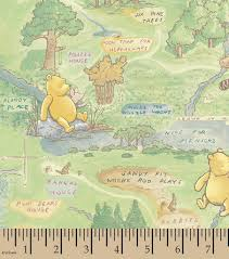 World Map Fabric by Nursery Fabric Classic Pooh Friends Are Fun 100 Acre Woods Joann