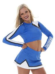 blue martini uniform customizable lettering long sleeve crop top and skirt dance team