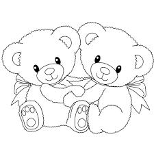 drawn teddy bear heart outline pencil color drawn teddy