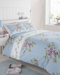 Amazon Duvet Sets Super King Size 100 Cotton Flannelette Blue With Pink Roses