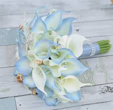 calla lilies bouquet touch all blue tip seashells and crystals calla lilies