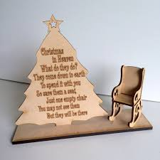 wooden in heaven and chair remembrance sign