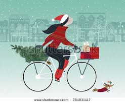 cute on bicycle dog caring stock vector 284831417 shutterstock
