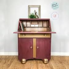 image bureau bureau desk in bordeaux bronze chalk paint painted furniture