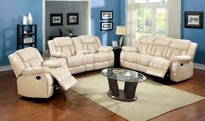 living room 3 piece living room set cream leather recliner sofa