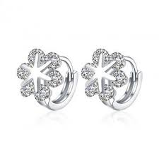 diamond ear studs simple fashion k gold snowflake diamond earrings platinum plated